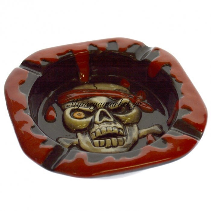 Τασάκι τετράγωνο με νεκροκεφαλή πειρατή κόκκινο - μάυρο   Mymegamarket.gr
