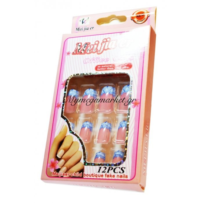 """Τεχνητά νύχια με σχέδια σέτ 12 τεμαχίων + κόλλα """"Νο15""""   Mymegamarket.gr"""