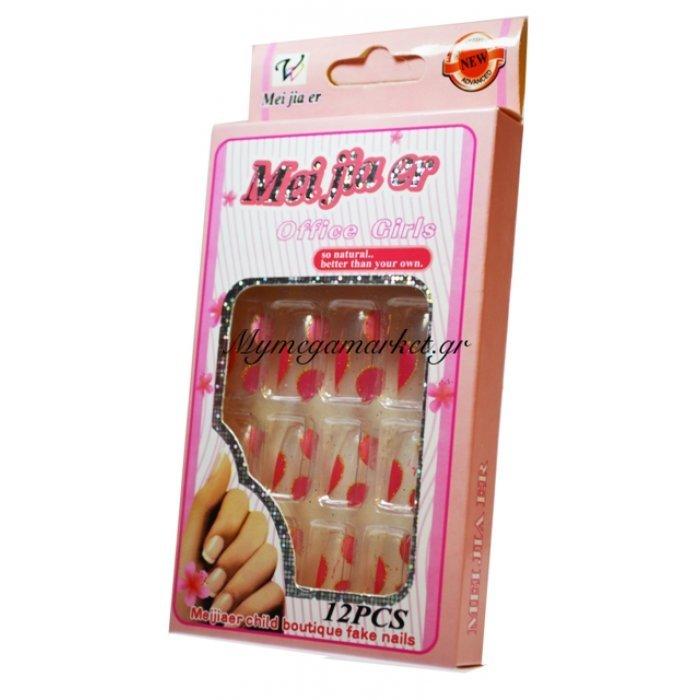 """Τεχνητά νύχια με σχέδια σέτ 12 τεμαχίων + κόλλα """"Νο62""""   Mymegamarket.gr"""