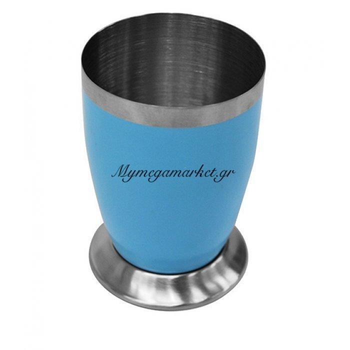 Θήκη για οδοντόβουρτσες σε γαλάζιο χρώμα χρώμα & inox λεπτομέρειες | Mymegamarket.gr