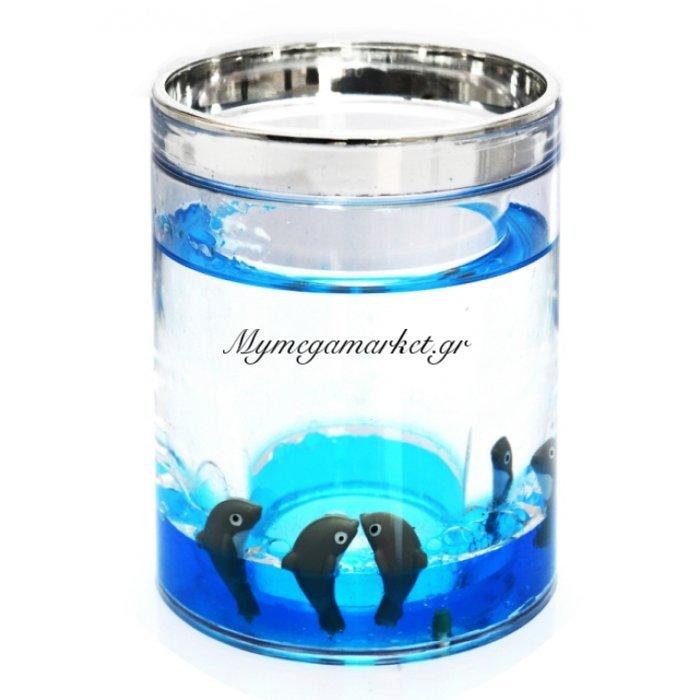 Θήκη για οδοντόβουρτσες στρογγυλή ακρυλική με σχέδιο δελφίνια & χρώμιου λεπτομέρεια | Mymegamarket.gr