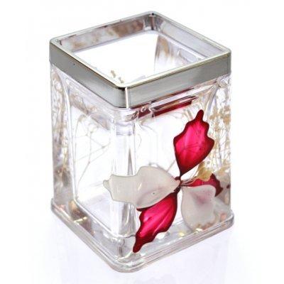 Θήκη για οδοντόβουρτσες τετράγωνη ακρυλική με σχέδιο λουλούδι & χρώμιου λεπτομέρεια .