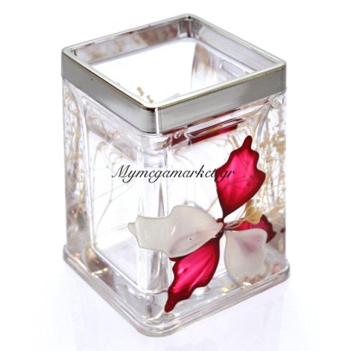 Θήκη για οδοντόβουρτσες τετράγωνη ακρυλική με σχέδιο λουλούδι & χρώμιου λεπτομέρεια . | Mymegamarket.gr