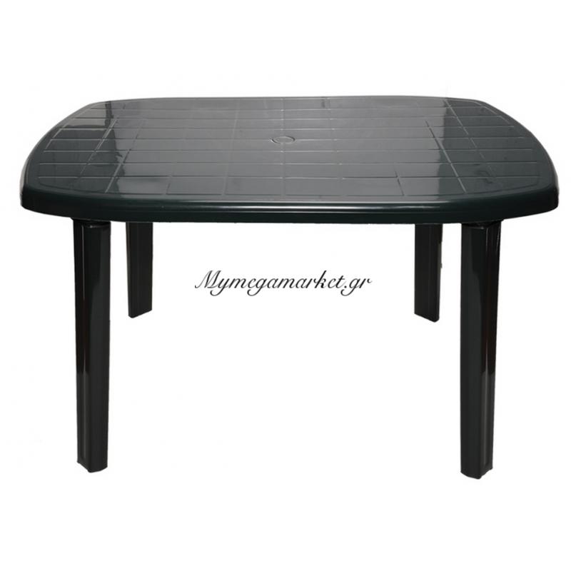 Τραπέζι πλαστικό παραλληλόγραμμο με υποδοχή ομπρέλας σε πράσινο χρώμα 125 x 85cm 0126 - Nektar Plast