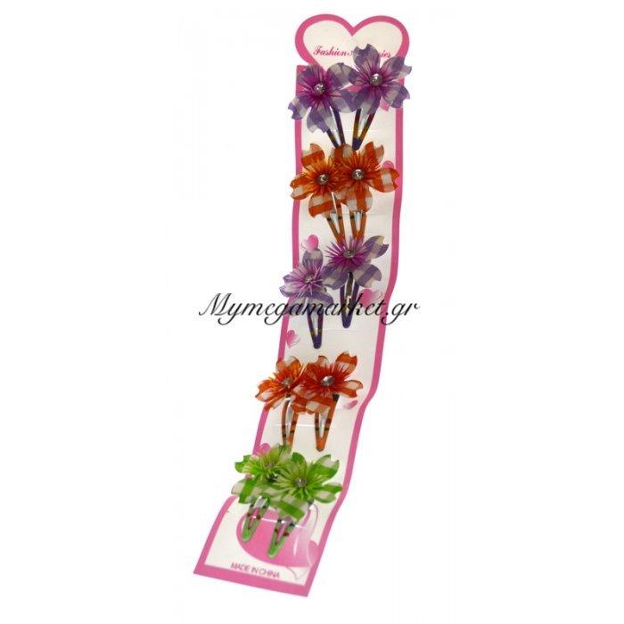 Τσιμπιδάκια κλίκ - κλάκ με λουλούδια σέτ 10 τμχ. | Mymegamarket.gr