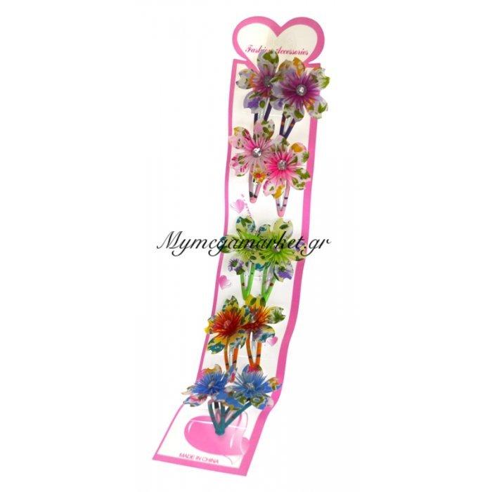 Τσιμπιδάκια κλίκ-κλάκ με λουλούδια σέτ 10τμχ. | Mymegamarket.gr