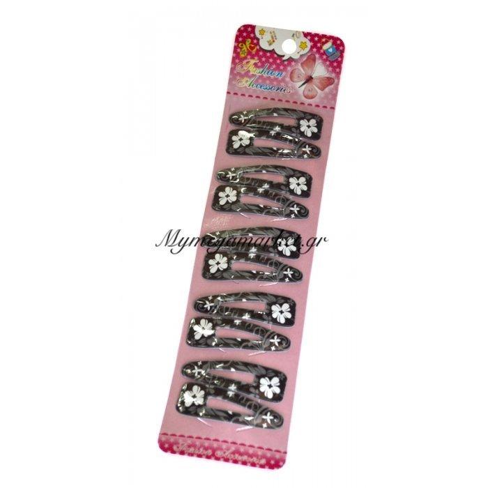 Τσιμπιδάκια κλίκ - κλάκ σέτ 10 τμχ με σχέδιο λουλούδι | Mymegamarket.gr