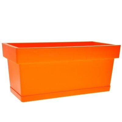 Ζαρντινιέρα Linea με πιάτο χρώμα πορτοκαλί 17,5 x 38,5 x 18,5 cm