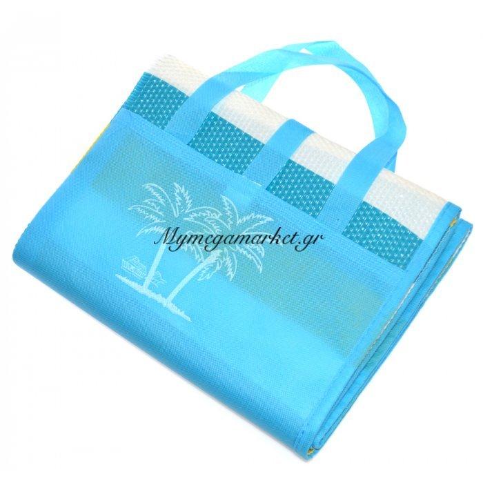 Πλαστική ψάθα τσαντάκι - Γαλάζια 90 x 180 cm | Mymegamarket.gr