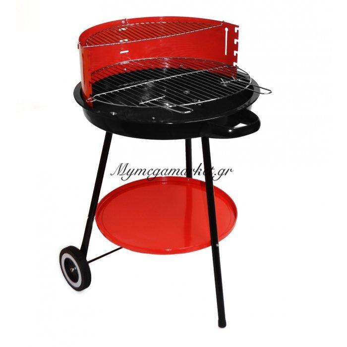 Ψησταριά κάρβουνου δαπέδου με σχάρα & ρόδες - Στρογγυλή - Tns | Mymegamarket.gr