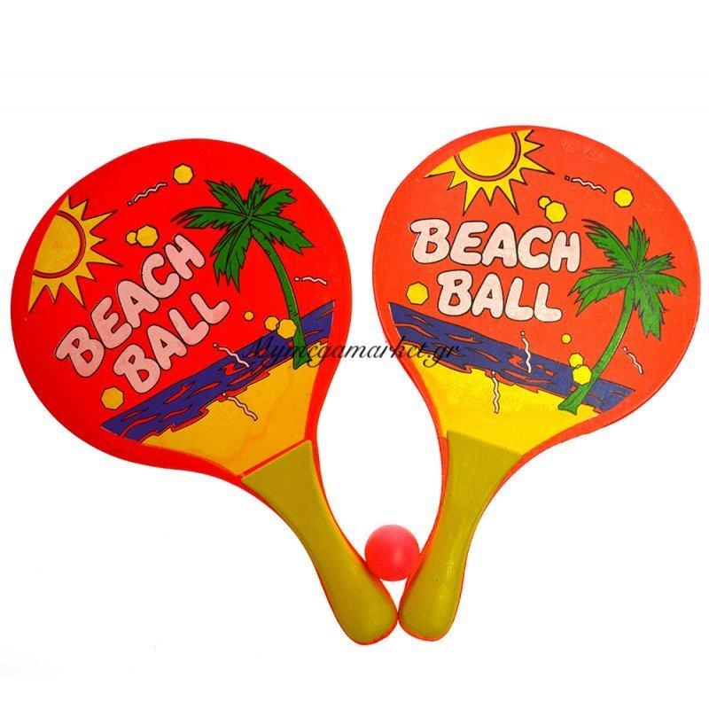 Ρακέτες ξύλινες παιδικές με μπαλάκι - Beach Ball