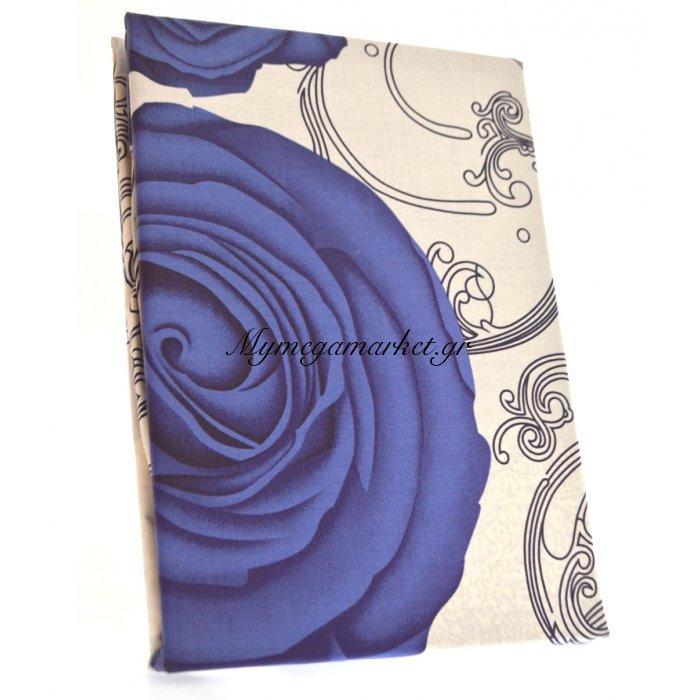 Σέτ 2 σεντόνια + 2 μαξιλαροθήκες - υπέρδιπλα - Εκρού με μπλέ λουλούδια   Mymegamarket.gr