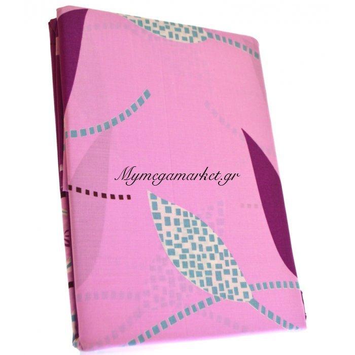 Σέτ 2 σεντόνια + μαξιλαροθήκη - υπέρδιπλα - ρόζ - μώβ με φύλλα   Mymegamarket.gr