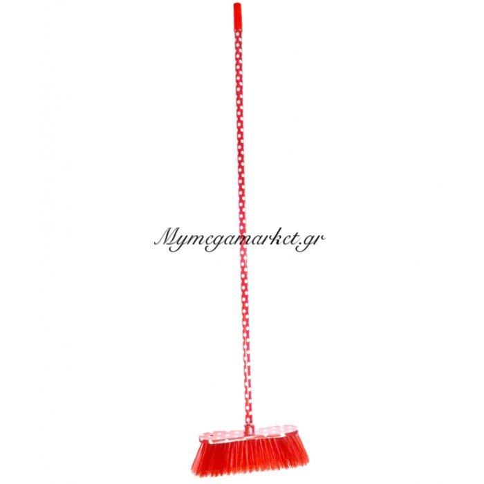 Σκούπα με κοντάρι πουά σε κόκκινο χρώμα | Mymegamarket.gr