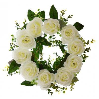 Στεφάνι με 10 τριαντάφυλλα λευκά