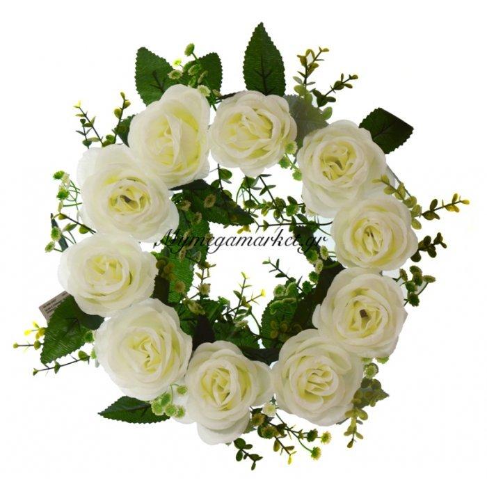 Στεφάνι με 10 τριαντάφυλλα λευκά | Mymegamarket.gr