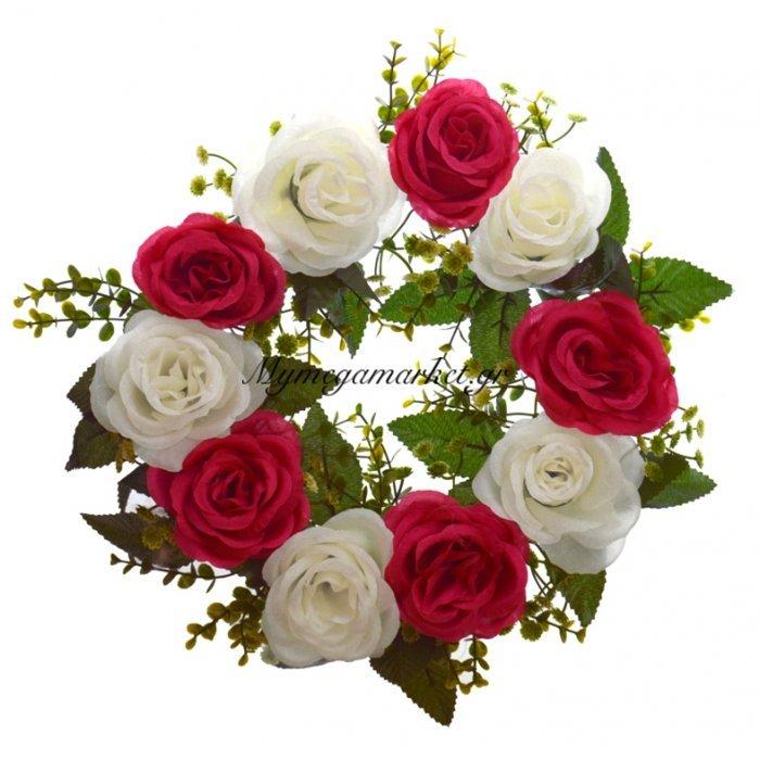 Στεφάνι με 10 τριαντάφυλλα λευκά - Φούξια | Mymegamarket.gr