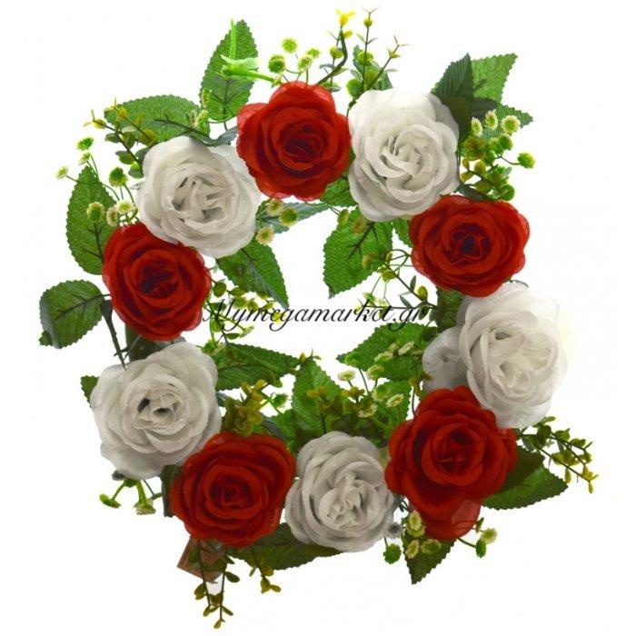 Στεφάνι με 10 τριαντάφυλλα λευκά - Κόκκινα | Mymegamarket.gr