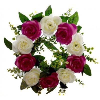 Στεφάνι με 10 τριαντάφυλλα λευκά - Μώβ