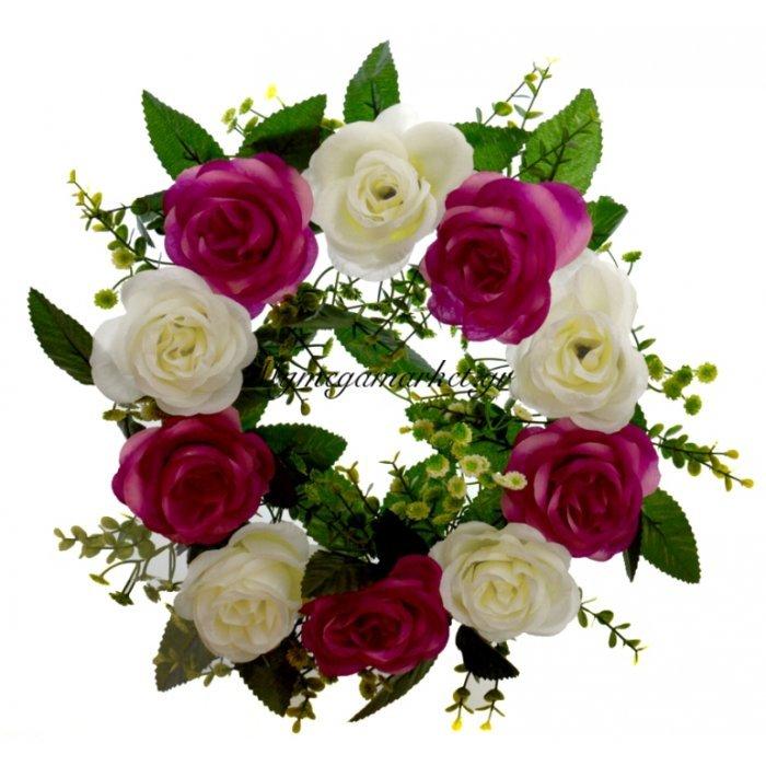 Στεφάνι με 10 τριαντάφυλλα λευκά - Μώβ | Mymegamarket.gr