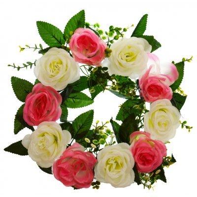 Στεφάνι με 10 τριαντάφυλλα λευκά - Ρόζ