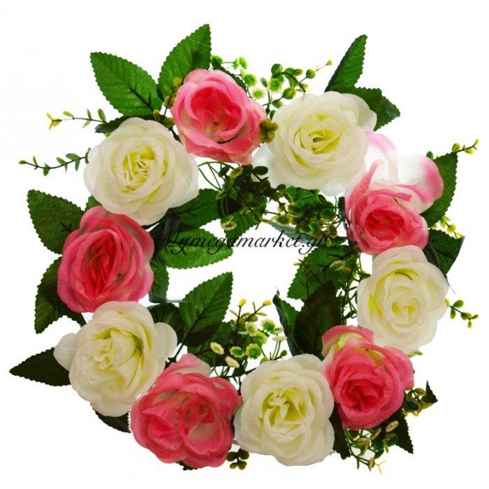 Στεφάνι με 10 τριαντάφυλλα λευκά - Ρόζ | Mymegamarket.gr