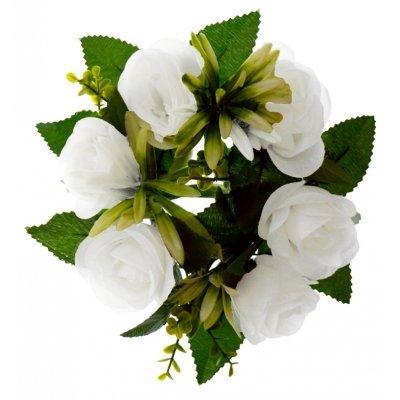 Στεφάνι με 5 μπουμπούκια τριαντάφυλλα - λευκά