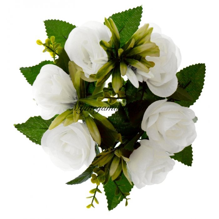 Στεφάνι με 5 μπουμπούκια τριαντάφυλλα - λευκά | Mymegamarket.gr
