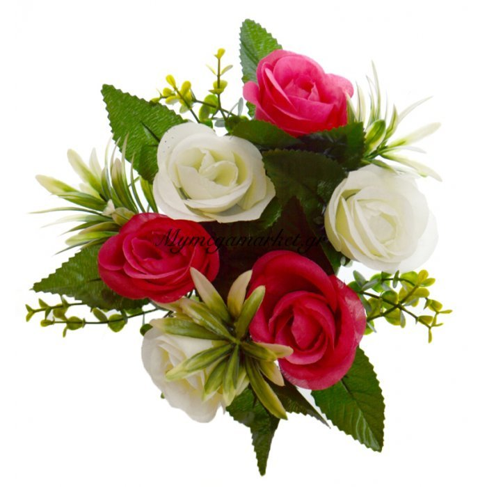 Στεφάνι με 5 μπουμπούκια τριαντάφυλλα - λευκά - Φούξια | Mymegamarket.gr