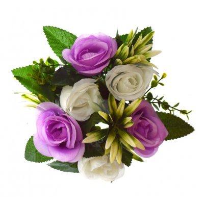 Στεφάνι με 5 μπουμπούκια τριαντάφυλλα - λευκά - Λιλά