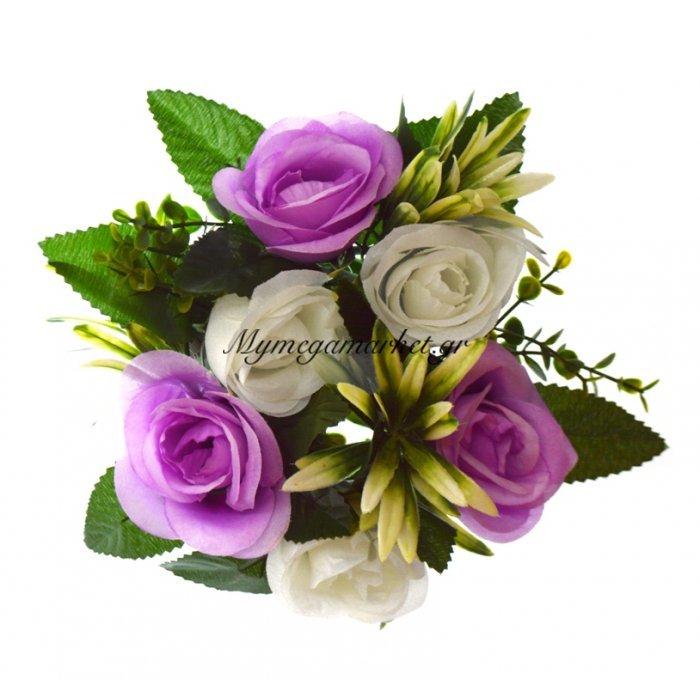 Στεφάνι με 5 μπουμπούκια τριαντάφυλλα - λευκά - Λιλά | Mymegamarket.gr