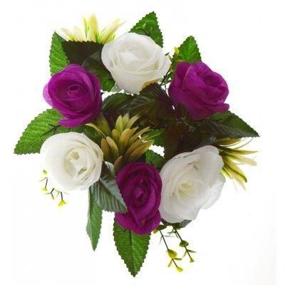 Στεφάνι με 5 μπουμπούκια τριαντάφυλλα - λευκά - Μώβ