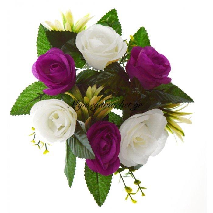 Στεφάνι με 5 μπουμπούκια τριαντάφυλλα - λευκά - Μώβ | Mymegamarket.gr