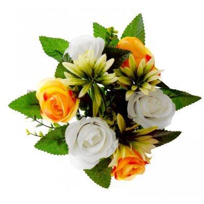 Στεφάνι με 5 μπουμπούκια τριαντάφυλλα - λευκά - Πορτοκαλί