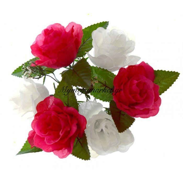 Στεφάνι με 5 τριαντάφυλλα - Λευκά - Φούξια | Mymegamarket.gr