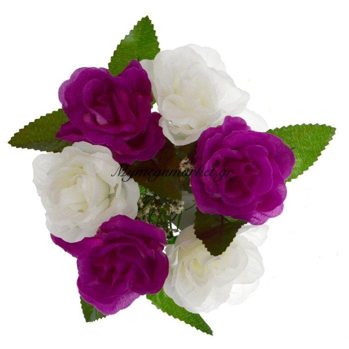 Στεφάνι με 5 τριαντάφυλλα - Λευκά - Μώβ | Mymegamarket.gr