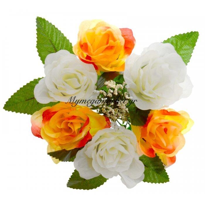 Στεφάνι με 5 τριαντάφυλλα - Λευκά - Πορτοκαλί | Mymegamarket.gr