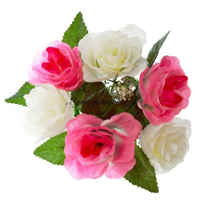 Στεφάνι με 5 τριαντάφυλλα - Λευκά - Ρόζ | Mymegamarket.gr