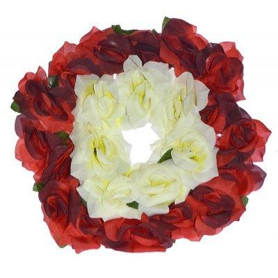 Στεφάνι με τριαντάφυλλα λευκό με κόκκινο