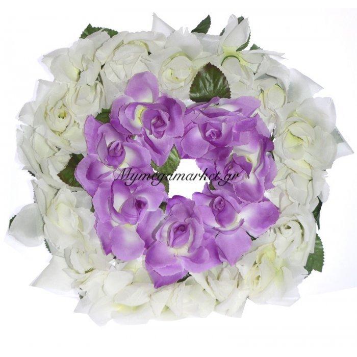 Στεφάνι με τριαντάφυλλα λευκό με μώβ | Mymegamarket.gr