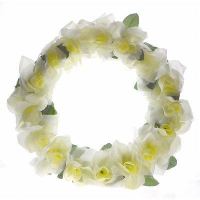 Στεφάνι με τριαντάφυλλα λευκό - μονό