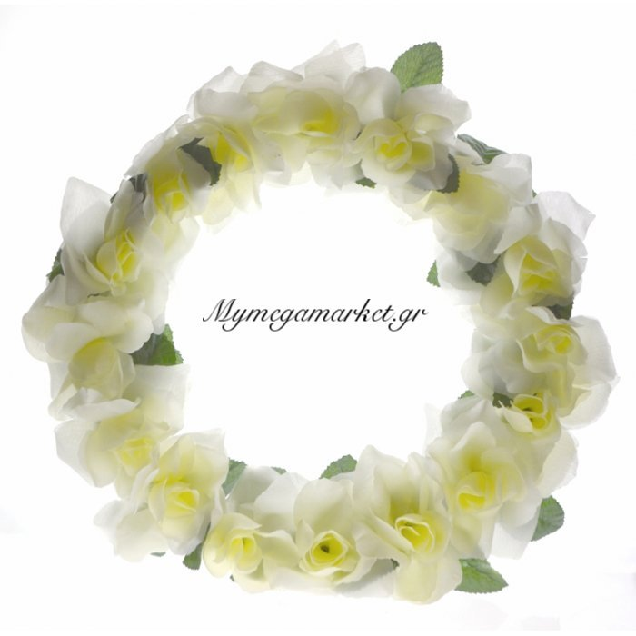 Στεφάνι με τριαντάφυλλα λευκό - μονό | Mymegamarket.gr