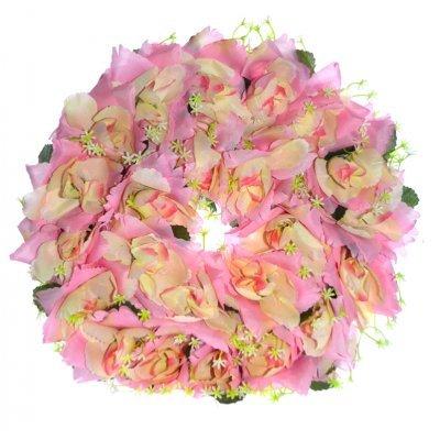 Στεφάνι με τριαντάφυλλα σε ρόζ απαλό