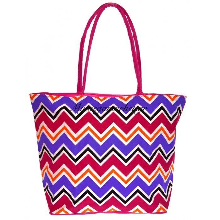 Τσάντα θαλάσσης γυναικεία - Φούξια με σχέδιο Zic Zak | Mymegamarket.gr