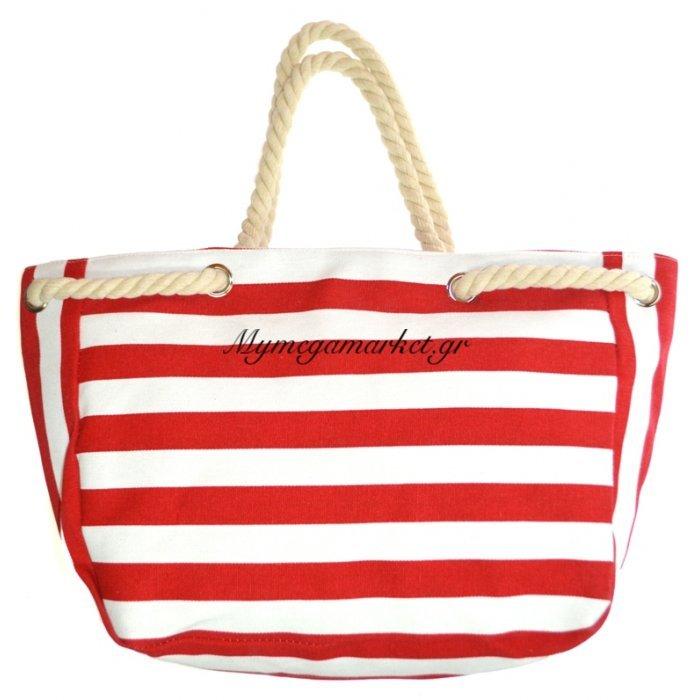 Τσάντα θαλάσσης γυναικεία - Navy κόκκινο - Άσπρο με καραβόσκοινο | Mymegamarket.gr