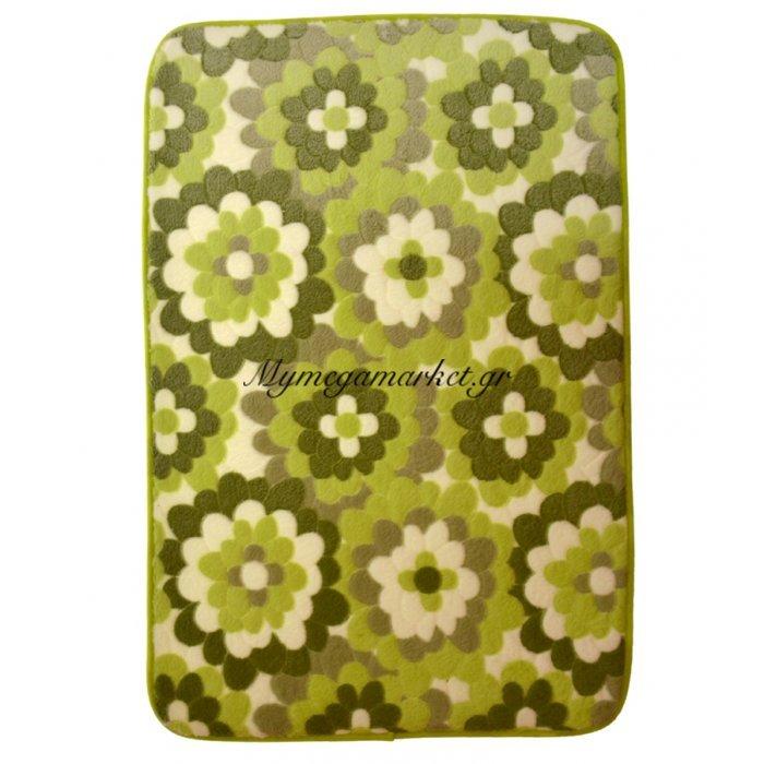 Χαλάκι - Microfiber - Αφροδίτη - Πράσινο με σχέδιο - 45 x 70 cm | Mymegamarket.gr