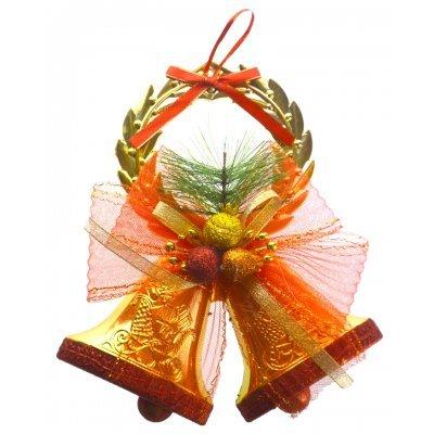 Καμπάνα διπλή Χριστουγεννιάτικη κρεμαστή χρυσή