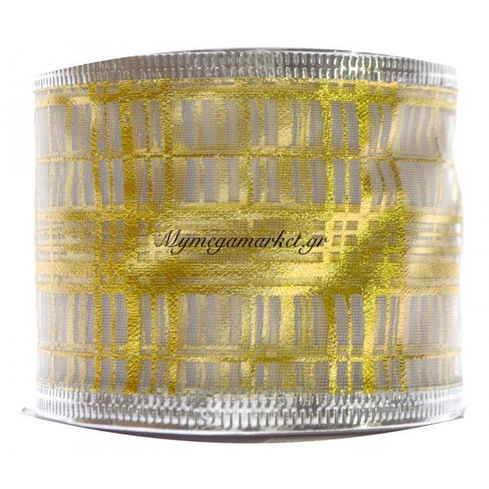 Κορδέλα δέντρου σε χρυσό με σχέδιο γραμμές | Mymegamarket.gr