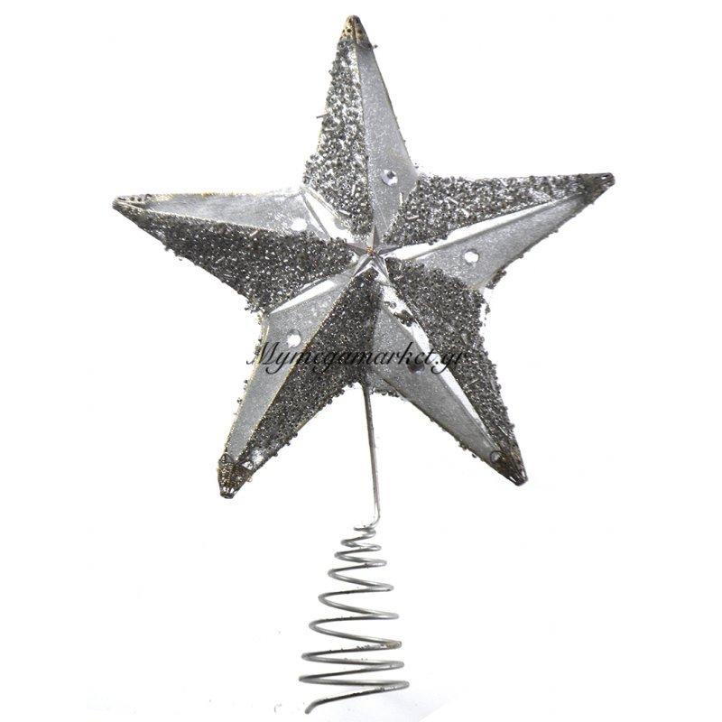 Κορυφή αστέρι με σπιράλ σε ασημί χρώμα