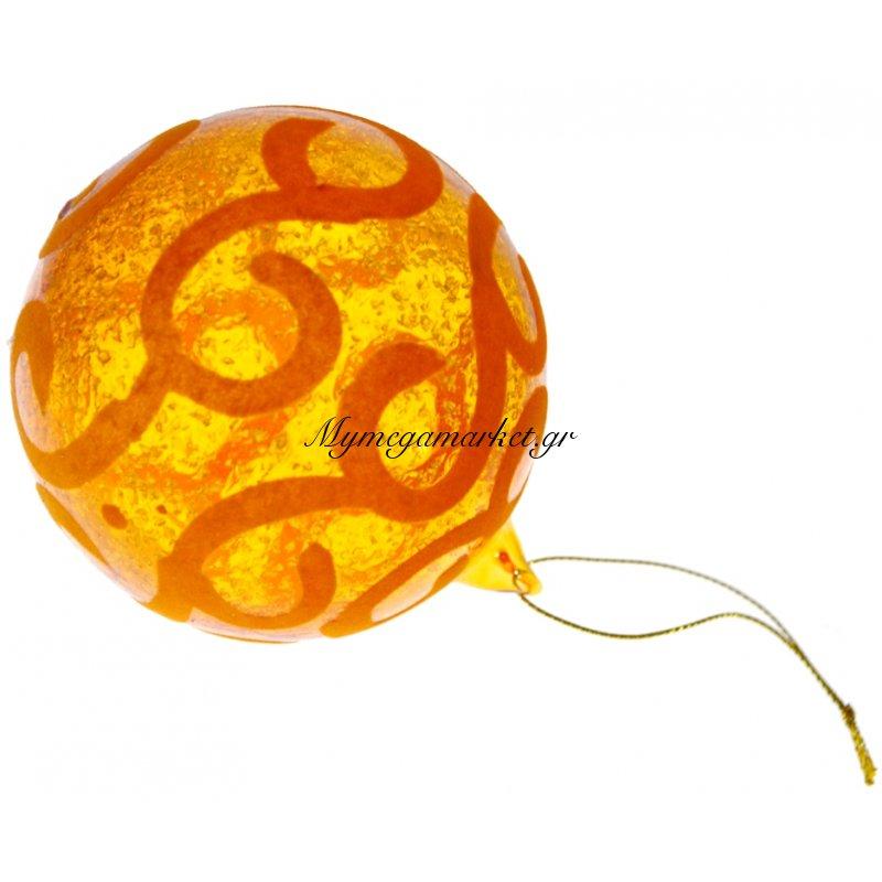 Μπάλα χριστουγεννιάτικη ακρυλική σε πορτοκαλί χρώμα